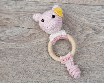 Crochet Pattern Teething Rattle Ring - Pork Chops Pig