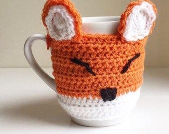 Crochet Fox cup sleeve / mug cosy / drinks cozy. Handmade