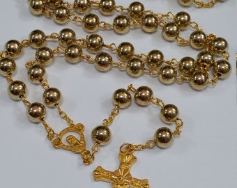 Golden Rosary Beads/ Prayer Beads/ Catholic Beads/ Religious Beads/ Fashion Beads With Cross Crucifix