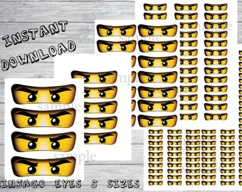 Instant DL- ninjago eyes -for Balloon, Stickers, Lollipop, Favor bags, Cups -ninjago birthday party (SET of 5 sizes)