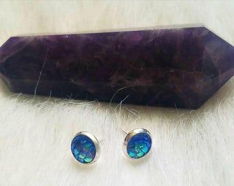 Blue mini 8mm mermaid scale stud earrings