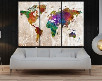 3 split panel Abstract wall art world map canvas print,watercolor print  World Map wall art canvas, extra large wall art No:9S64