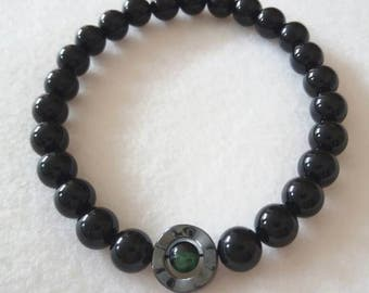 Mens Bracelet, Black Onyx with Hematite and Green Zoisite
