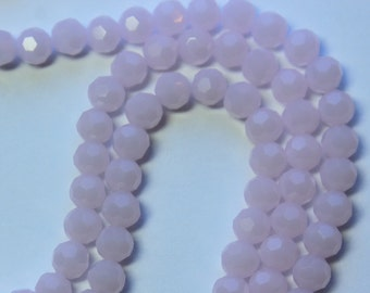 4mm Pink Beads Opaque Light Pink Crystal Glass Faceted Rounds 15 inch strand 90 Beads