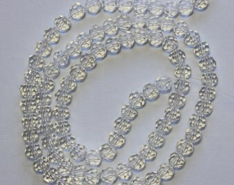 4mm Clear Beads Crystal Glass Faceted Rounds 15 inch Strand 90 Beads