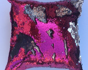 Hot Pink and Silver Mermaid Reversible Pillow Cover - Throw Pillow