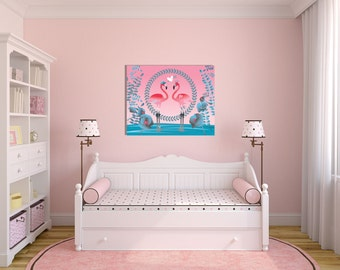 Pink Flamingo Canvas Art, Canvas Wall Art, Home Decor, Girls room decoration, Toddlers room art, Nursery decoration