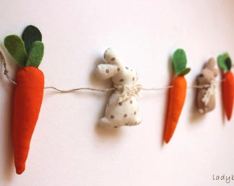 Easter door bunny and carrot decor