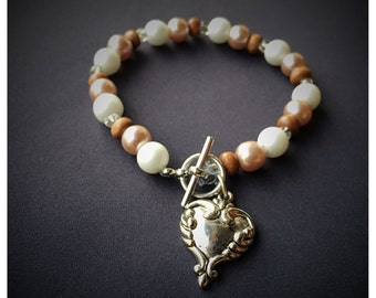 Heart Charm Pearl+Wood Beaded Women's Bracelet