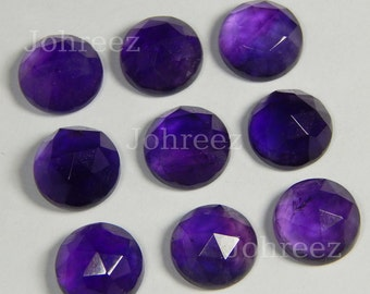 15 Pieces Wholesale Lot Natural Purple Amethyst Round Rose Cut Gemstone