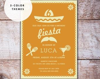 Fiesta Birthday Invitation, Cinco De Mayo Party Invitation, Mexican hat Margarita Maracas DIGITAL FILE