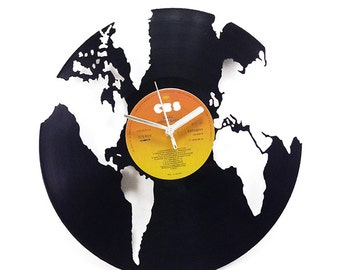 World Globe Vinyl Clock