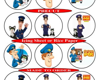 Postman Pat pre-cut edible cupcake toppers, 2 sizes