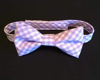 Boys Bow Tie, Baby Boys Bowtie, Toddler Bow Tie, Lavender Checked Bow Tie, Checked Bow Tie, Gingham Bow Tie, Adjustable Bow Tie, Checked Tie