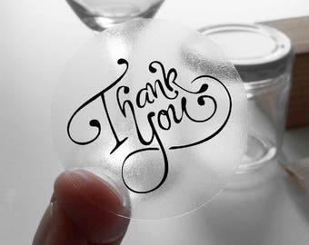 "Transparent or Silver Foil ""Thank You"" Ornate Labels Stickers Seals #R4002"