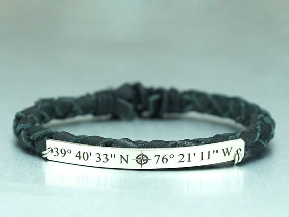 custom coordinates bracelet with compass symbol latitude