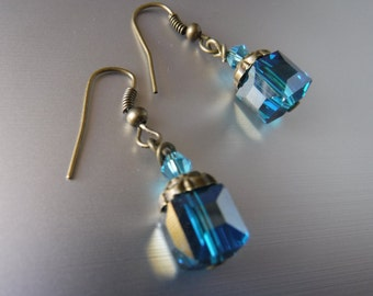 Blue Crystal Vintage Earrings