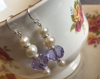 Tre Pearl & Amethyst Crystal Sterling Silver Earrings