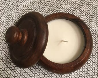 Soy candle in vintage wood jar