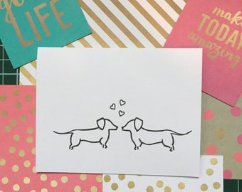 Wiener Dog Love Valentines Day Card