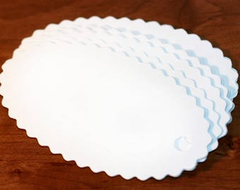 Tag Plain White Oval Cardboard Scallop Edge Tags with Pre Punched Hole 4.5 x 2.5 inch Pack of 15 Unstrung