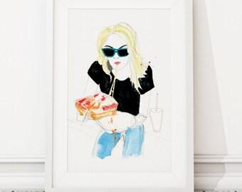 Pizza Girl Art Print