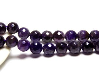 Dark Amethyst Natural Gemstone Faceted Round Beads 4, 6, 8, 10, 12 mm for Jewelry 15.5 inches strand