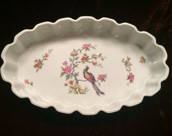 Beautiful Oval Casserole Dish, Theodore Haviland Bird of Paradise Style, Made In France, Souffle, Flan, Au Gratin, 12x7 Ceramic Dish