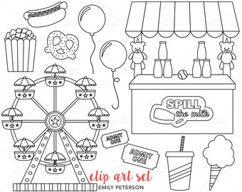 Carnival, Circus, Ferris Wheel, Popcorn - Cute Digital Stamps, Line Art  - Commercial Use, Instant Download