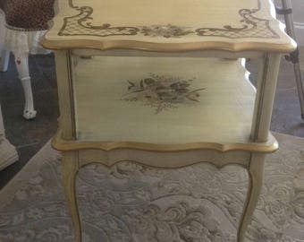 SOLD SOLD. Katherine Henick antique tiered table.  Beautiful in any room, living room, bedroom, dining room.