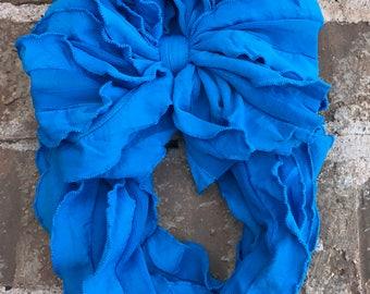 Cyan Blue Ruffle Messy Bow Headband
