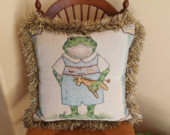 Children's Frog with Baby Giraffe Tapestry &  Fringe Trimmed Decorative Pillow