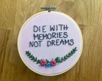 Hoop embroidery picture that memories with embryo