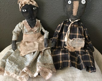 Handmade Primitive Black Dolls