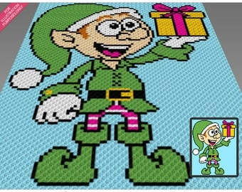 Gifting Elf crochet blanket pattern; c2c, cross stitch; knitting; graph; pdf download; no written counts or row-by-row instructions