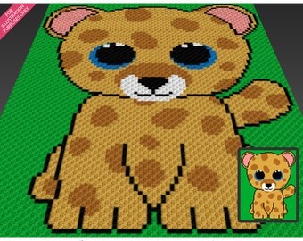 Baby Leopard  crochet blanket pattern; c2c, cross stitch; knitting; graph; pdf download; no written counts or row-by-row instructions