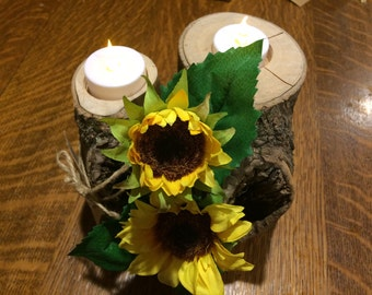 Log flameless candle holder, Log candle with sunflowers, tealight holder, candleholder