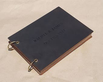 Personalized leather guest book custom guest book rustic wedding guest book vintage book bridal shower guest book guestbook wedding gifts