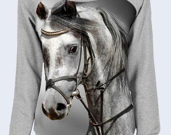One Shoulder Sweatshirt Horse, Grey Sweater, Cute Coat, Sweatshirts for Women, Pullover, Womens Coat, Sweat Shirt, Women Sweatshirt