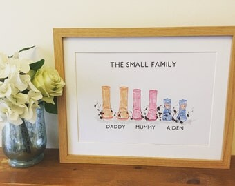 Personalised Welly Boot Print