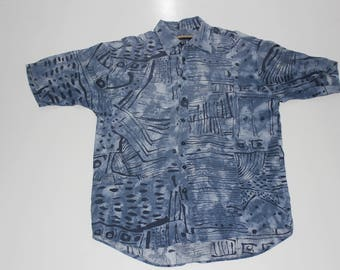 Blue Trippy 90s Vintage Shirt with Intricate Patterns by Haupt