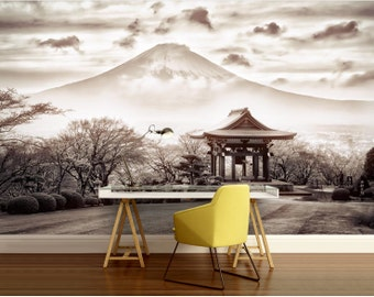 CITY 3d MURAL, Japan wall mural, Asia wall mural, city black and white, Fuji wall mural, black and white wallpaper, mountain wallpaper,