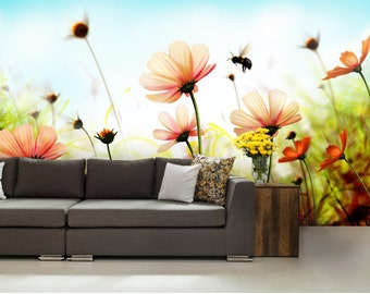 flower wallpaper, flower wall mural, big flower wall decal, big flower wall mural, nature wallpaper, self adhesive wall mural