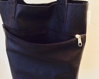 shopper | Tote | Black | zipper