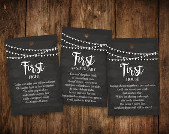 A Year of Firsts - Newlyweds   Bridal Shower Wine Tags and Poems   Milestones Wine Tags   Wedding Shower Wine Gift Basket   Set of 12