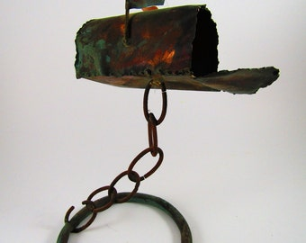Vintage Copper Mailbox Sculpture Welded Rustic