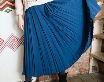 Deep turquoise pleated skirt/Vintage maxi blue skirt