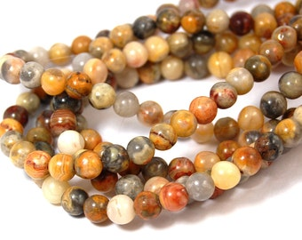 """Two 15"""" strands Crazy Lace Agate Beads 6mm"""