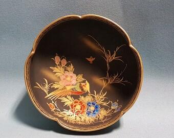 Black Satsuma Bowl, Flower and Bird Design