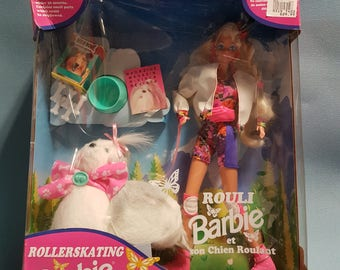 RARE Rollerskating Barbie and her Roll Along Puppy